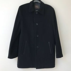 Cole Haan Black Wool Cashmere Leather Trim  Coat